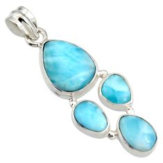 15.33cts natural blue larimar 925 sterling silver pendant jewelry r11290