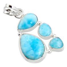 15.33cts natural blue larimar 925 sterling silver pendant jewelry r11291