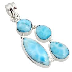 925 sterling silver 17.31cts natural blue larimar pendant jewelry r11292