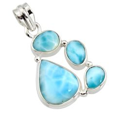 13.71cts natural blue larimar 925 sterling silver pendant jewelry r11294
