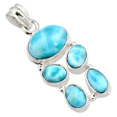 15.62cts natural blue larimar 925 sterling silver pendant jewelry r11295