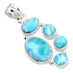 13.36cts natural blue larimar 925 sterling silver pendant jewelry r11297