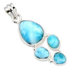 14.63cts natural blue larimar 925 sterling silver pendant jewelry r11298