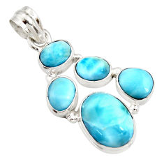 15.33cts natural blue larimar 925 sterling silver pendant jewelry r11299