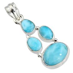10.37cts natural blue larimar 925 sterling silver pendant jewelry r11301
