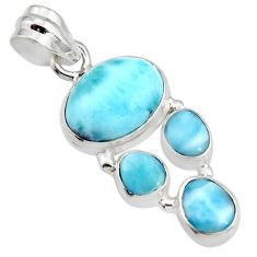 10.02cts natural blue larimar 925 sterling silver pendant jewelry r11302