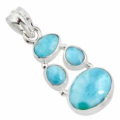 10.57cts natural blue larimar 925 sterling silver pendant jewelry r11304