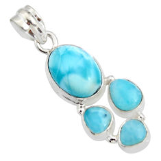 925 sterling silver 12.83cts natural blue larimar oval pendant jewelry r11308