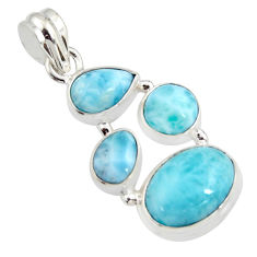 11.93cts natural blue larimar 925 sterling silver pendant jewelry r11309