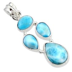 11.93cts natural blue larimar 925 sterling silver pendant jewelry r11311