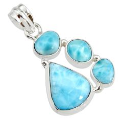 14.12cts natural blue larimar 925 sterling silver pendant jewelry r11313