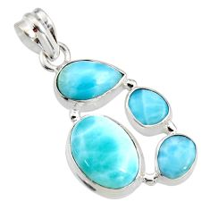 13.69cts natural blue larimar 925 sterling silver pendant jewelry r11314