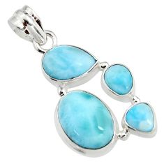 14.12cts natural blue larimar 925 sterling silver pendant jewelry r11315