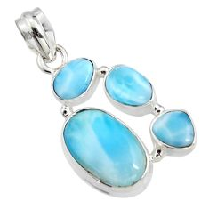 13.63cts natural blue larimar 925 sterling silver pendant jewelry r11319