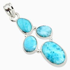 925 sterling silver 14.47cts natural blue larimar oval pendant jewelry r11324