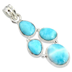 12.65cts natural blue larimar 925 sterling silver pendant jewelry r11325
