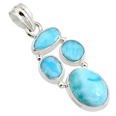 13.28cts natural blue larimar 925 sterling silver pendant jewelry r11326