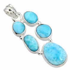 925 sterling silver 16.44cts natural blue larimar fancy pendant jewelry r11327