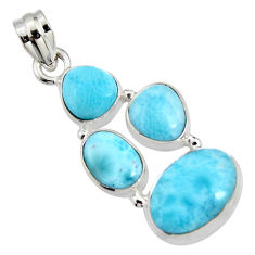 13.79cts natural blue larimar 925 sterling silver pendant jewelry r11328