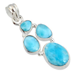 13.28cts natural blue larimar 925 sterling silver pendant jewelry r11329