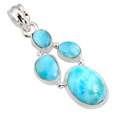 925 sterling silver 11.66cts natural blue larimar oval pendant jewelry r11330