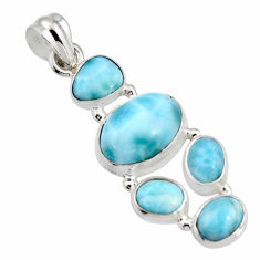 12.34cts natural blue larimar 925 sterling silver pendant jewelry r11332