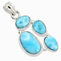 13.07cts natural blue larimar 925 sterling silver pendant jewelry r11335