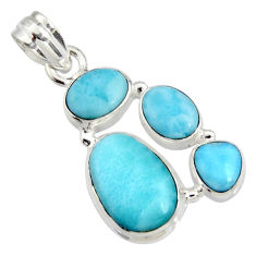 12.02cts natural blue larimar 925 sterling silver pendant jewelry r11336