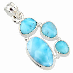 925 sterling silver 12.04cts natural blue larimar fancy pendant jewelry r11337