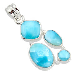 13.34cts natural blue larimar 925 sterling silver pendant jewelry r11339
