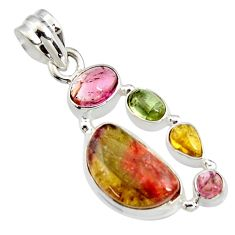 12.04cts natural multi color tourmaline 925 sterling silver pendant r11341