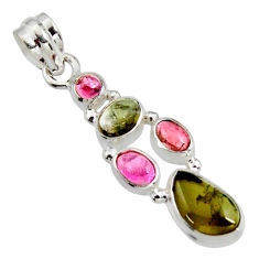8.77cts natural multi color tourmaline 925 sterling silver pendant r11350
