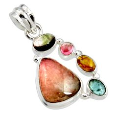 11.57cts natural multi color tourmaline 925 sterling silver pendant r11354