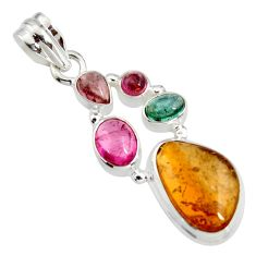 12.40cts natural multi color tourmaline 925 sterling silver pendant r11357