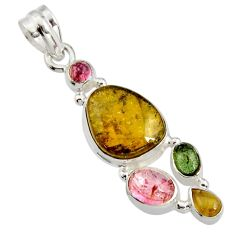 925 sterling silver 11.95cts natural multi color tourmaline pendant r11359