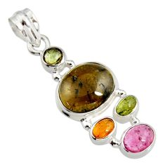 12.40cts natural multi color tourmaline 925 sterling silver pendant r11365