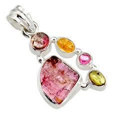 10.64cts natural multi color tourmaline 925 sterling silver pendant r11377