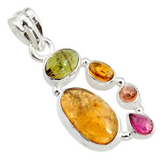 10.64cts natural multi color tourmaline 925 sterling silver pendant r11379