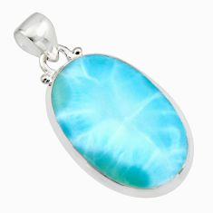 16.85cts natural blue larimar oval 925 sterling silver pendant jewelry r11766