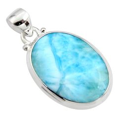 925 sterling silver 17.39cts natural blue larimar oval pendant jewelry r11776