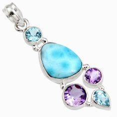 15.47cts natural blue larimar amethyst topaz 925 sterling silver pendant r11783
