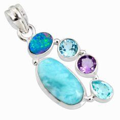 13.71cts natural blue larimar doublet opal australian 925 silver pendant r11784