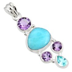 925 sterling silver 14.12cts natural blue larimar amethyst topaz pendant r11785