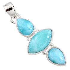 12.55cts natural blue larimar 925 sterling silver pendant jewelry r11787