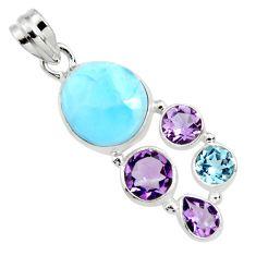 14.41cts natural blue larimar amethyst topaz 925 sterling silver pendant r11789