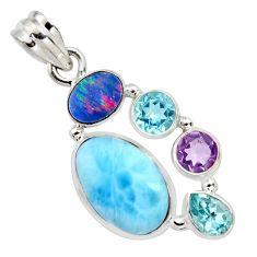 13.34cts natural blue larimar doublet opal australian 925 silver pendant r11790