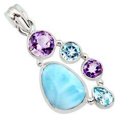 14.41cts natural blue larimar amethyst topaz 925 sterling silver pendant r11793