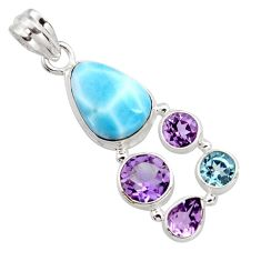 14.08cts natural blue larimar amethyst topaz 925 sterling silver pendant r11795