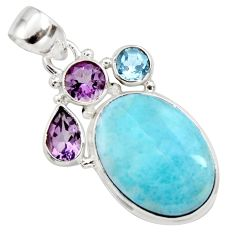 925 sterling silver 17.73cts natural blue larimar amethyst topaz pendant r11796