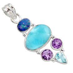 15.16cts natural blue larimar doublet opal australian 925 silver pendant r11797